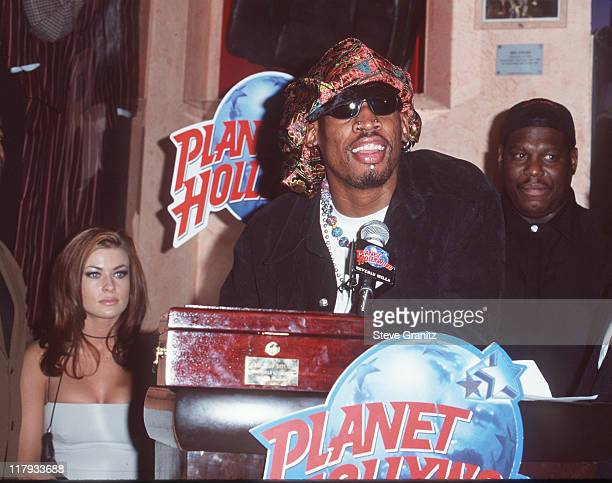 Dennis Rodman Carmen Electra during Dennis Rodman Press Conference at Planet Hollywood in Beverly Hills California United States