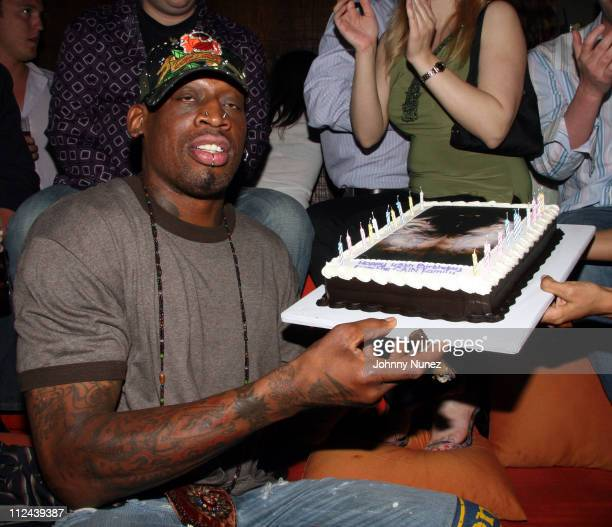 Dennis Rodman during Dennis Rodman's 45th Birthday Party at CAIN in New York, New York, United States.