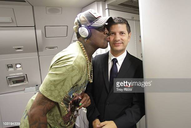 Dennis Rodman is photographed kissing a flight attendant on board a flight to Madrid from Miami on July 28 2010 in Madrid Spain
