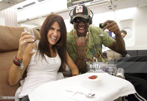 Dennis Rodman is photographed on board a flight to Madrid from Miami on July 28 2010 in Madrid Spain