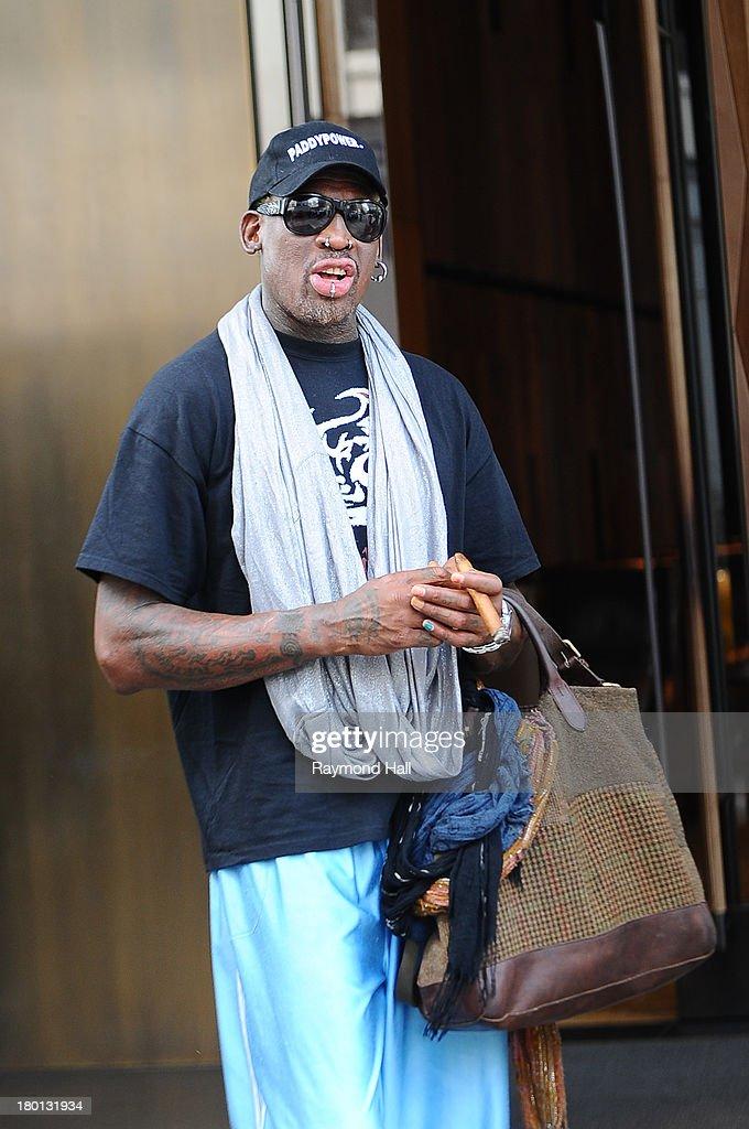 Dennis Rodman is seen in Soho on September 9, 2013 in New York City.