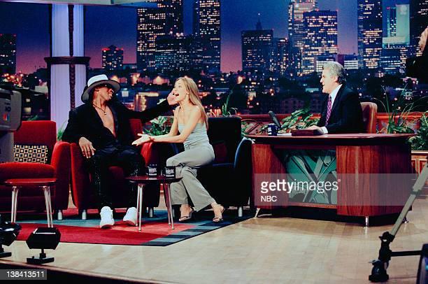 LENO Dennis Rodman Kim Raver Air Date Episode 1687 Pictured Professional basketball player Dennis Rodman actress Kim Raver during an interview with...