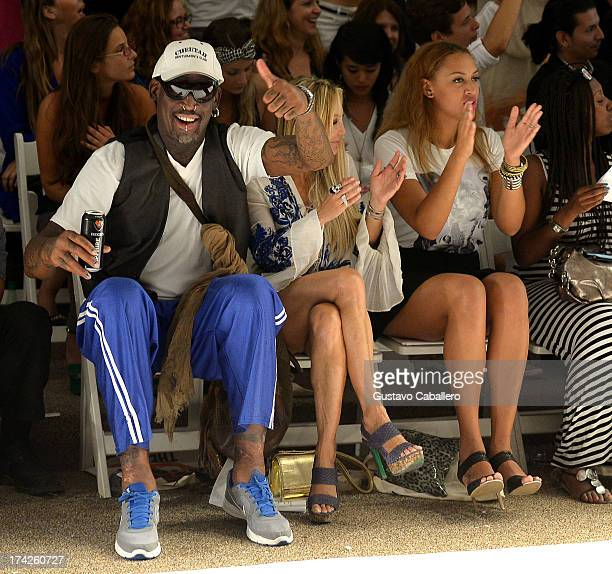 Dennis Rodman Lisa Pliner and Alexis Rodman attend Anna Kosturova/Beach Riot/Lolli Swim/Manglar/Indah show at MercedesBenz Fashion Week Swim 2014 at...