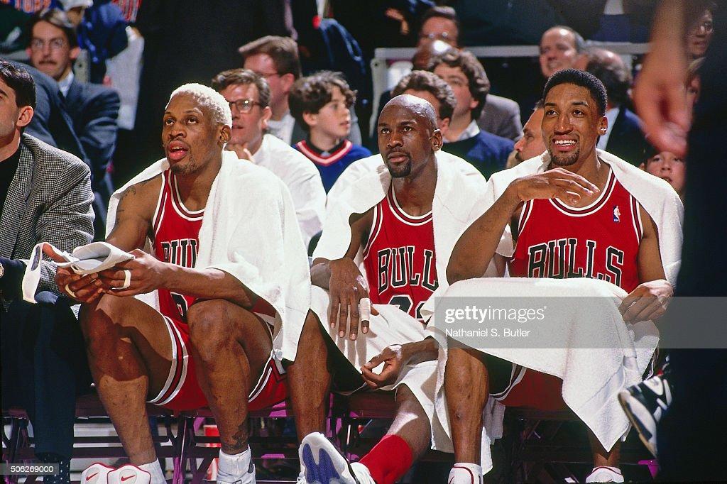 Dennis Rodman, Michael Jordan and Scottie Pippen of the