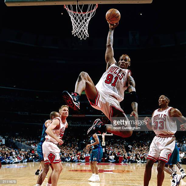 Dennis Rodman of the Chicago Bulls controls the ball against the Charlotte Hornets at the United Center during a 1998 season NBA game in Chicago,...