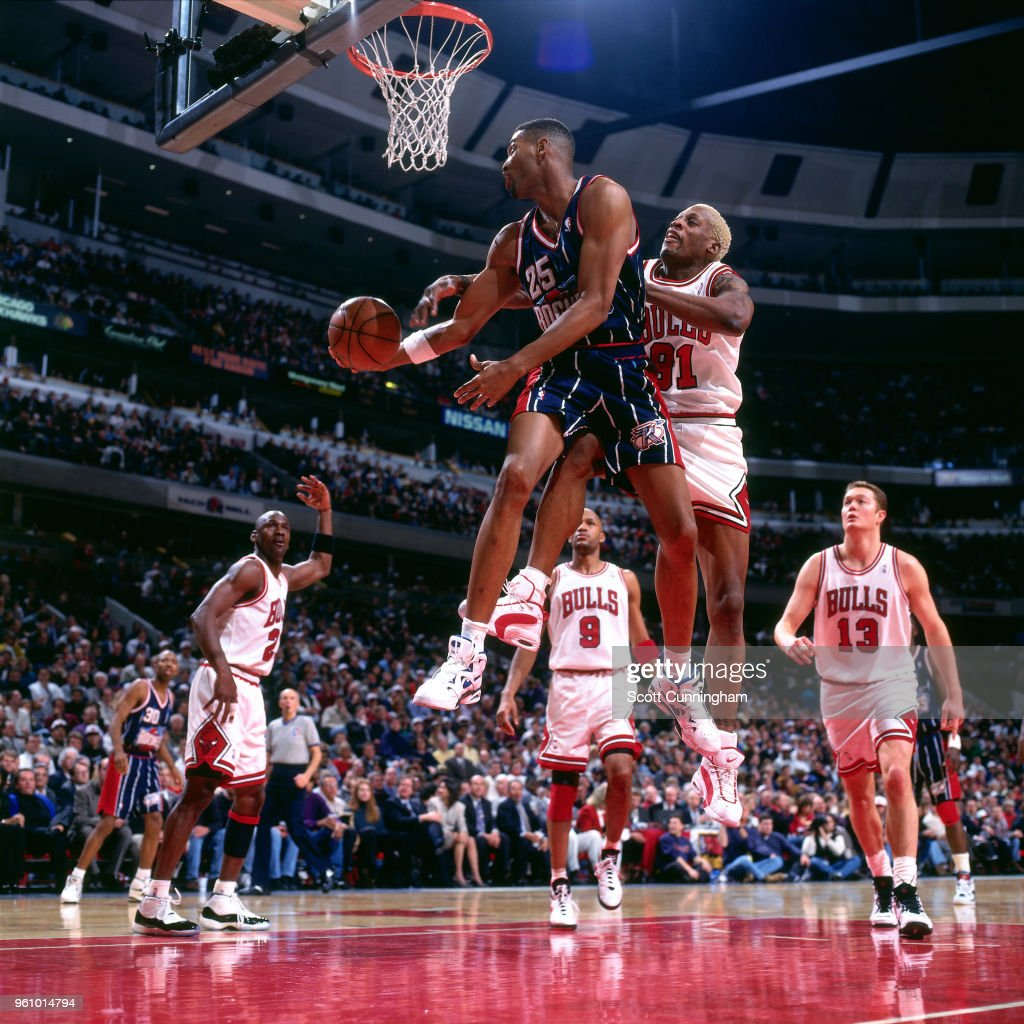 Dennis Rodman of the Chicago Bulls defends Robert Horry of the ... 98a61ef46