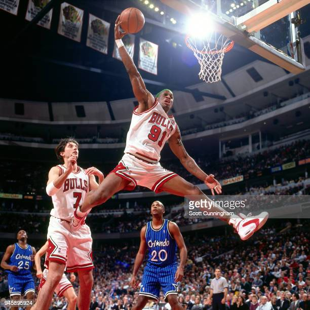 Dennis Rodman of the Chicago Bulls dunks the ball against the Orlando Magic on December 13, 1995 at the United Center in Chicago, Illiniois. NOTE TO...