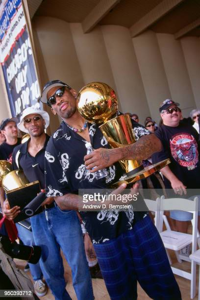 Dennis Rodman of the Chicago Bulls during the 1998 Chicago Bulls Celebration Rally on June 16 1998 at Grant Park in Chicago Illinois NOTE TO USER...