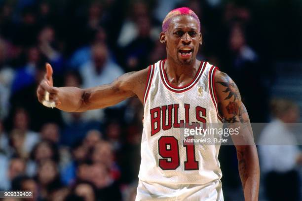 Dennis Rodman of the Chicago Bulls reacts during a game played on March 18, 1997 at the United Center in Chicago, Illinois. NOTE TO USER: User...