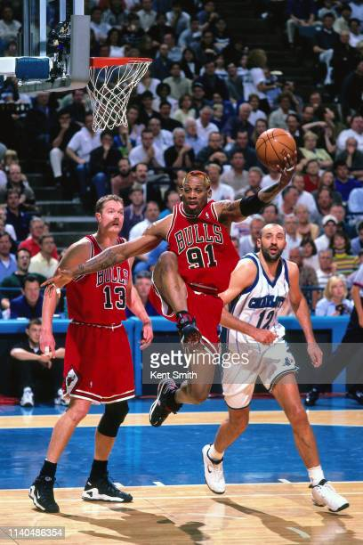 Dennis Rodman of the Chicago Bulls shoots the ball against the Charlotte Hornets on May 8, 1998 at Charlotte Coliseum in Charlotte, North Carolina....