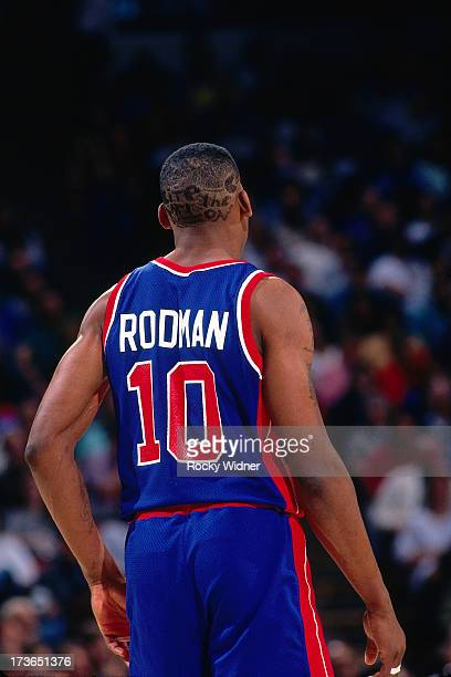 Dennis Rodman of the Detroit Pistons gets into position during a game against the Sacramento Kings played on March 16 1993 at Arco Arena in...
