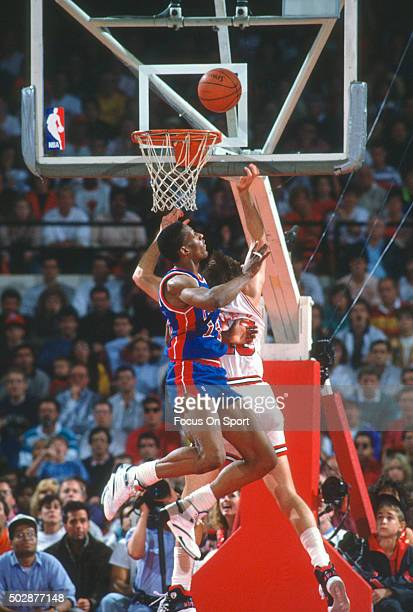 Dennis Rodman of the Detroit Pistons in action against the Chicago Bulls during an NBA basketball game circa 1991 at Chicago Stadium in Chicago...