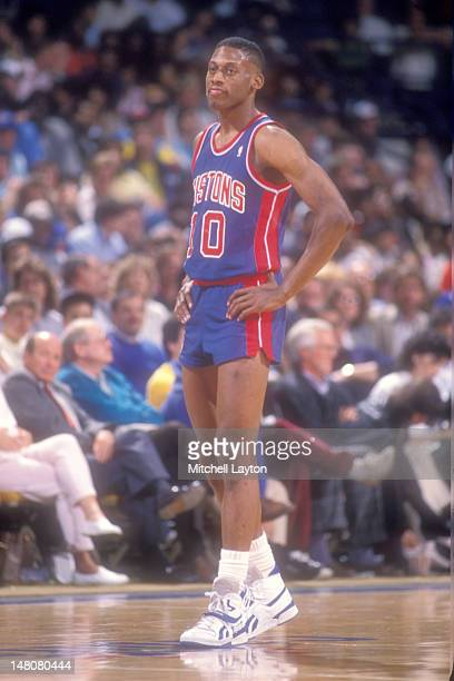 Dennis Rodman of the Detroit Pistons looks on during basketball game against the Washington Bullets at Capital Centre on April 12 1987 in Landover...