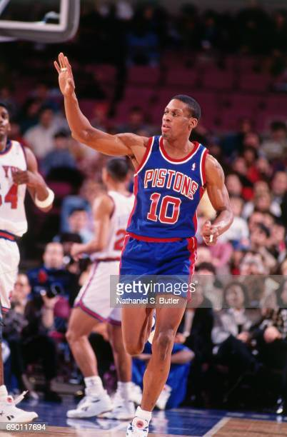 Dennis Rodman of the Detroit Pistons looks on during the game against the New York Knicks circa 1993 at Madison Square Garden in New York City NOTE...