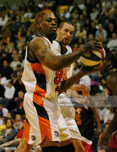 Dennis Rodman of the Long Beach Jam in action against the Fresno HeatWave of the American Basketball Association in Rodman's first professional game...