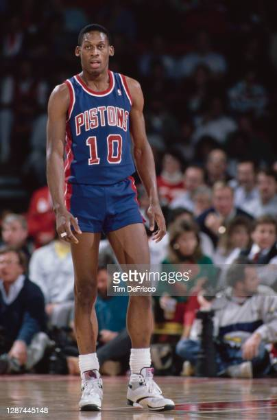 Dennis Rodman, Power Forward for the Detroit Pistons during the NBA Midwest Division basketball game against the Denver Nuggets on 12th December 1989...
