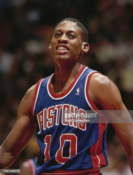 Dennis Rodman, Power Forward for the Detroit Pistons during the NBA Central Division basketball game against the Atlanta Hawks on 16th December 1986...