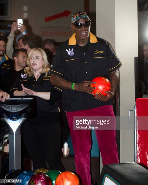 Dennis Rodman prepares to bowl while Rebel Wilson waits her turn in the background at 3rd Annual Mammoth Film Festival Red Carpet Saturday on...