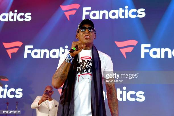 Dennis Rodman speaks onstage at Mike Rubin's Fanatics Super Bowl Party at Loews Miami Beach Hotel on February 01 2020 in Miami Beach Florida