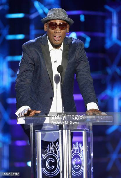Dennis Rodman speaks onstage during the Comedy Central Roast of Bruce Willis at Hollywood Palladium on July 14, 2018 in Los Angeles, California.