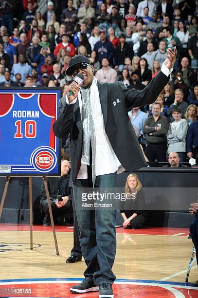 Dennis Rodman speaks to the crowd during the retirement ceremony of his Detroit Pistons on April 1 2011 at The Palace of Auburn Hills in Auburn Hills...