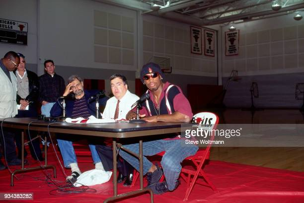 Dennis Rodman talks to the media during a press conference to announce he signed with the Chicago Bulls on October 5 1995 at the Berto Center in...