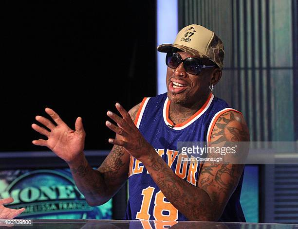 Dennis Rodman Visits The FOX Business Network at FOX Studios on December 9 2014 in New York City