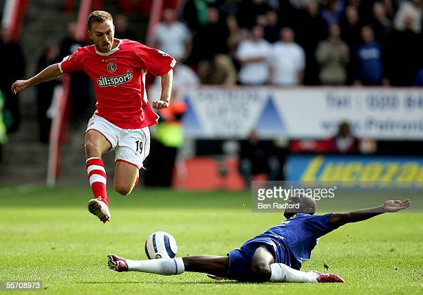 Dennis Rommedahl of Charlton is tackled by Claude Makelele of Chelsea during the Barclays Premiership match between Charlton Athletic and Chelsea at...
