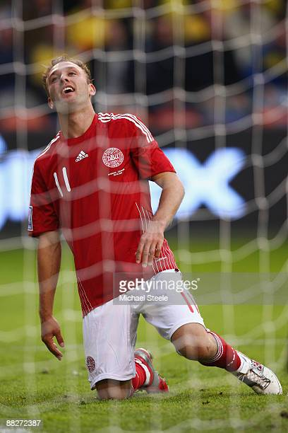 Dennis Rommedahl of Denmark rues a missed chance during the FIFA2010 World Cup Qualifying Group 1 match between Sweden and Denmark at the Rasunda...