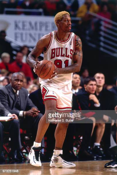 Dennis Rosman of the Chicago Bulls looks on during a game played on November 1 1997 at the First Union Arena in Philadelphia Pennsylvania NOTE TO...