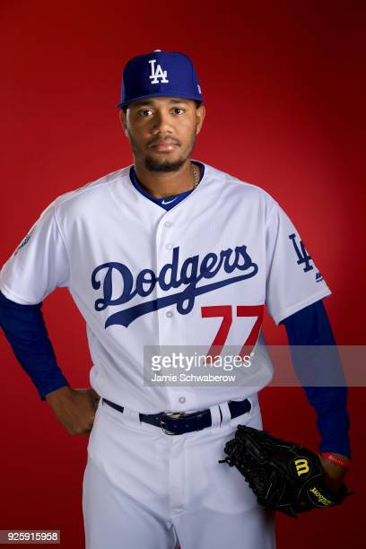 Dennis Santana of the Los Angeles Dodgers poses during MLB Photo Day at Camelback Ranch Glendale on February 22 2018 in Glendale Arizona
