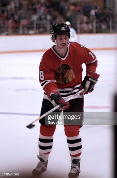Dennis Savard of the Chicago Black Hawks skates against the Toronto Maple Leafs during NHL Stanley Cup game action on April 12 1986 at Maple Leaf...