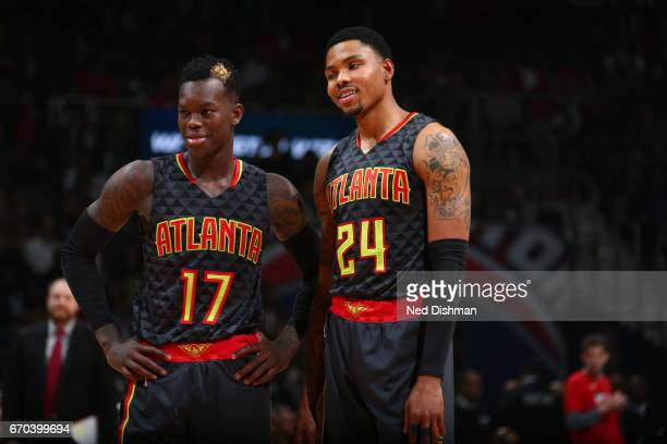 Dennis Schroder and Kent Bazemore of the Atlanta Hawks are seen against the Washington Wizards during the Eastern Conference Quarterfinals of the...