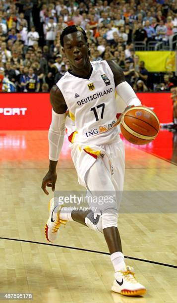 Dennis Schroder of Germany in action during the EuroBasket 2015 Group B basketball match between Germany and Spain at Mercedes Benz Arena in Berlin...