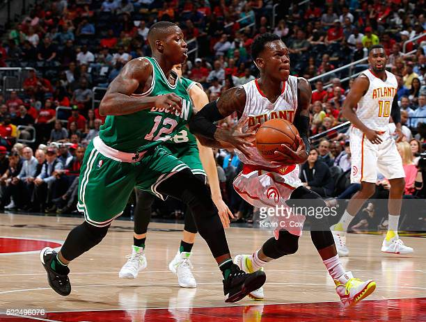 Dennis Schroder of the Atlanta Hawks drives past Terry Rozier of the Boston Celtics in Game Two of the Eastern Conference Quarterfinals during the...