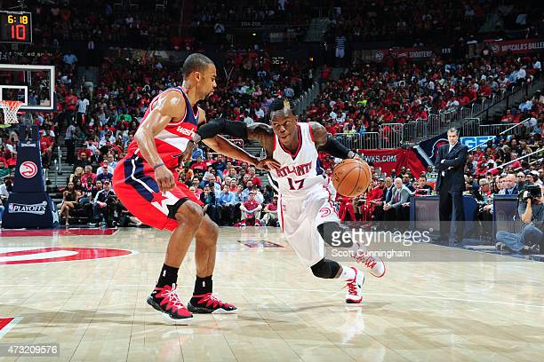 Dennis Schroder of the Atlanta Hawks drives to the basket against the Washington Wizards in Game Five of the Eastern Conference Semifinals during the...