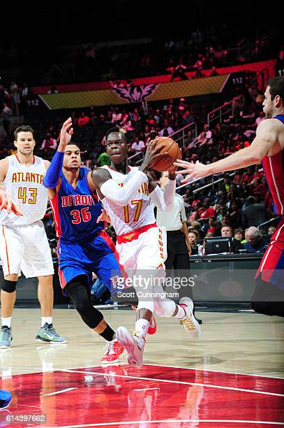 Dennis Schroder of the Atlanta Hawks drives to the basket against the Detroit Pistons on October 13 2016 at Philips Arena in Atlanta Georgia NOTE TO...