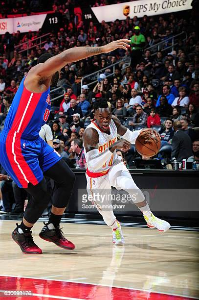 Dennis Schroder of the Atlanta Hawks drives to the basket against the Detroit Pistons on December 30 2016 at Philips Arena in Atlanta Georgia NOTE TO...