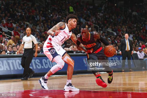 Dennis Schroder of the Atlanta Hawks drives to the basket against the Washington Wizards during the Eastern Conference Quarterfinals of the 2017 NBA...