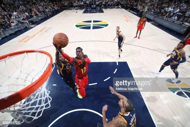 Dennis Schroder of the Atlanta Hawks drives to the basket against the Utah Jazz on March 20 2018 at vivintSmartHome Arena in Salt Lake City Utah NOTE...