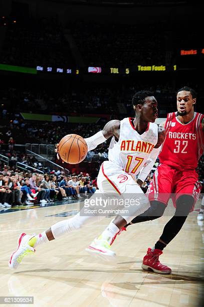 Dennis Schroder of the Atlanta Hawks drives to the basket during a game against the Houston Rockets on November 5 2016 at Philips Arena in Atlanta...