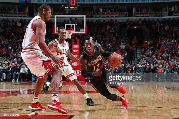 Dennis Schroder of the Atlanta Hawks drives to the basket during the game against the Chicago Bulls on January 25 2017 at the United Center in...