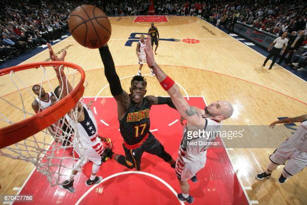 Dennis Schroder of the Atlanta Hawks dunks against the Washington Wizards during Game Two of the Eastern Conference Quarterfinals of the 2017 NBA...