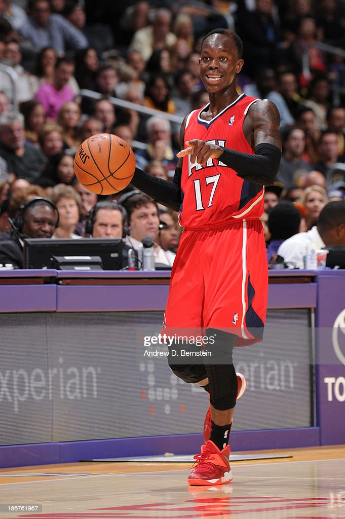 Dennis Schroder #17 of the Atlanta Hawks during a game against the Los Angeles Lakers on November 3, 2013 at STAPLES Center in Los Angeles, California.