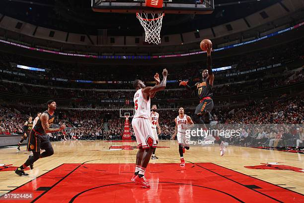 Dennis Schroder of the Atlanta Hawks goes for the layup against the Chicago Bulls during the game on March 28 2016 at United Center in Chicago...