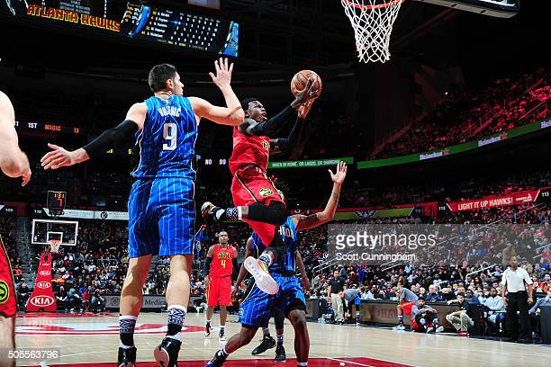 Dennis Schroder of the Atlanta Hawks goes for the layup during the game against the Orlando Magic on January 18 2016 at Philips Arena in Atlanta...