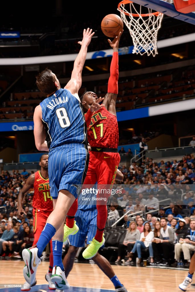 Dennis Schroder #17 of the Atlanta Hawks goes to the basket against the Orlando Magic on February 8, 2018 at the Amway Center in Orlando, Florida.