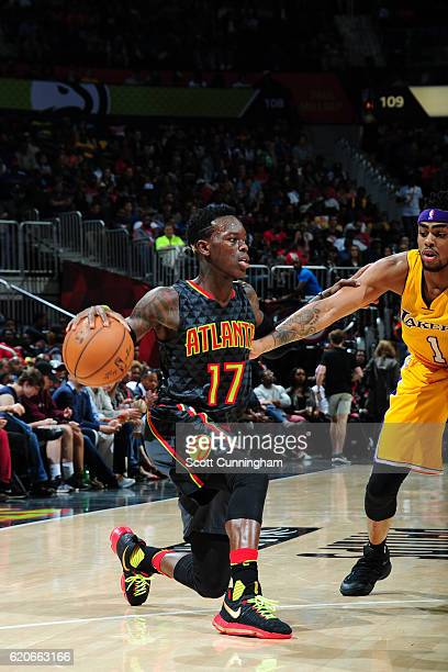 Dennis Schroder of the Atlanta Hawks handles the ball against the Los Angeles Lakers on November 2 2016 at Philips Arena in Atlanta Georgia NOTE TO...