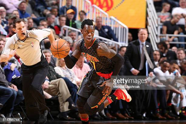 Dennis Schroder of the Atlanta Hawks handles the ball against the Utah Jazz on March 8 2016 at vivintSmartHome Arena in Salt Lake City Utah NOTE TO...