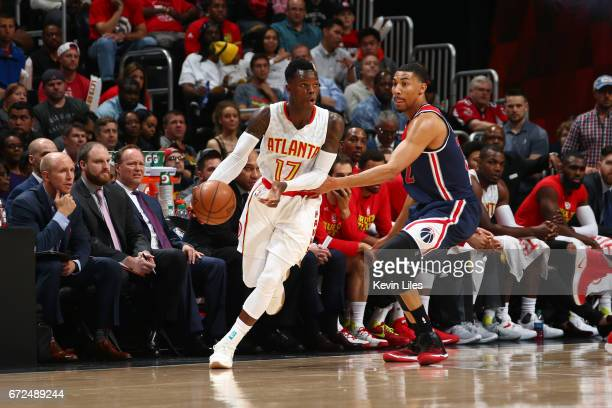 Dennis Schroder of the Atlanta Hawks handles the ball against the Washington Wizards during Game Four of the Eastern Conference Quarterfinals of the...